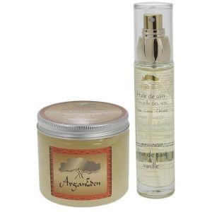 ArganEden, huile de soin et granité exfoliant à la vanille/fleur de tiaré