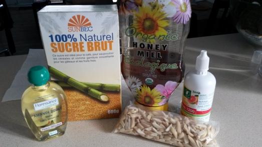 Ingrédients nécessaires à la recette maison pour l'exfoliant corps à l'amande